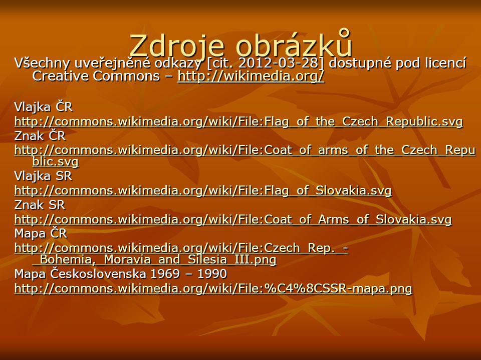 Zdroje obrázků Všechny uveřejněné odkazy [cit. 2012-03-28] dostupné pod licencí Creative Commons – http://wikimedia.org/